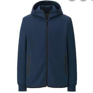 UNIQLO stretch full zip navy hoodie